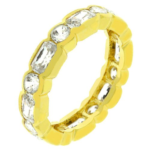 Eternity 14k Yellow Gold Plated CZ 3.5 CT Ring Size 9