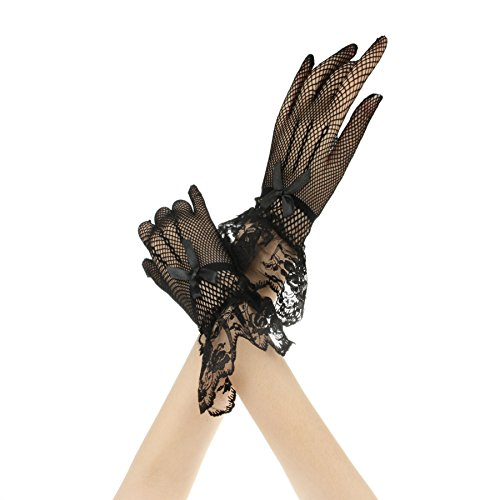 APAS Womens Short Cotton Crochet Dress Gloves Wedding Gloves Black