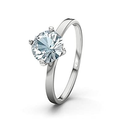21DIAMONDS Women's Ring Tegan 21D Engagement Ring Brilliant Cut Aquamarine Engagement Rings, Silver