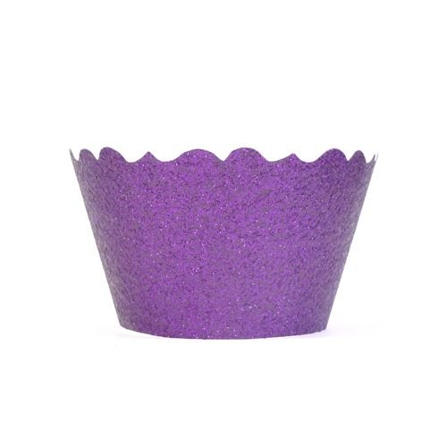 Bella Cupcake Couture 633131980202 Glitter Cupcake Wrappers, Lavender, Set Of 12 front-173592
