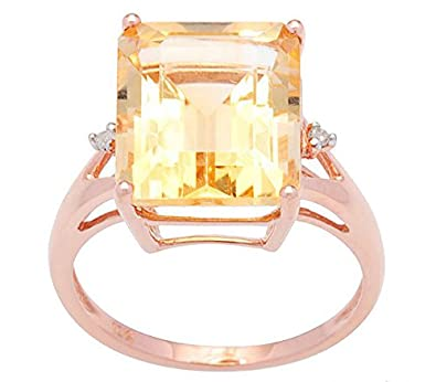 10k Rose Gold Emerald Cut Citrine and Diamond Ring