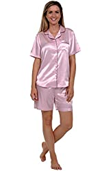 Del Rossa Women's Short Sleeve Satin Pajama Set with Black Piping and Shorts