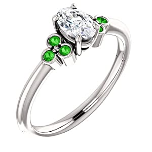 10K White Gold Oval Cut Diamond and Tsavorite Engagement Ring