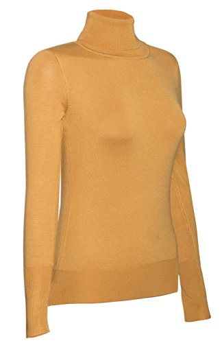 bodilove-womens-long-sleeve-fitted-turtle-neck-sweater-mustard-l-sw770