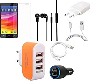 NIROSHA Tempered Glass Screen Guard Cover Case Charger Headphone USB Cable for Micromax Canvas Nitro 2 - Combo