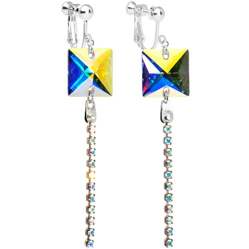 Handcrafted Crystal Elegance Aurora Trail Dangle Clip Earrings MADE WITH SWAROVSKI ELEMENTS