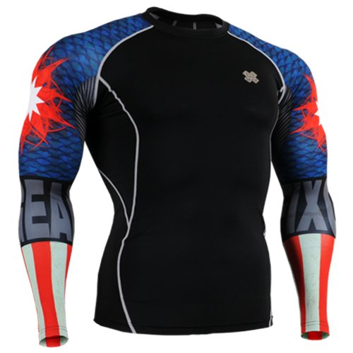 Fixgear Sports Mens Womens Compression Black Base Layer Running Tee Shirt
