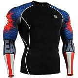 Fixgear Sports homme femme Compression Noir Base layer Running Tee Shirt