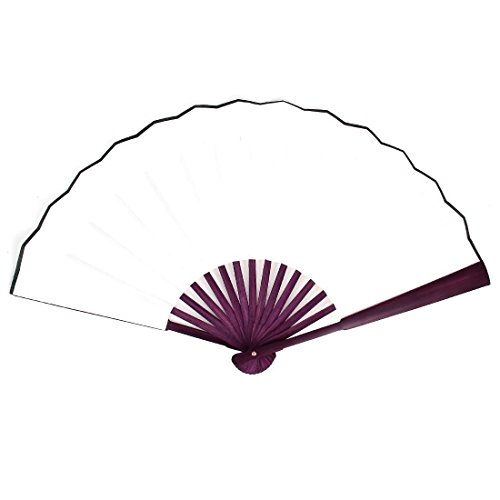 Hand Fan - TOOGOO(R) Men Women Wood Handle Fabric Folding Hand Fan 13-inch Length Whtie