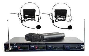 Pyle PDWM4300 VHF Wireless Rack Mount Microphone System, 2 Handheld Mics, 2 Belt Pack Transmitters, 2 Lavalier & 2 Headset Mics