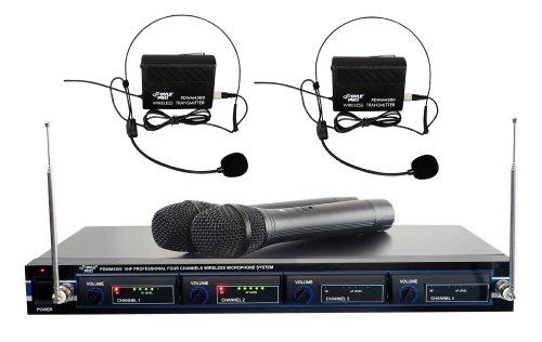 Pyle-Pro PDWM4300 4 Mic VHF Wireless Rack Mount Microphone System
