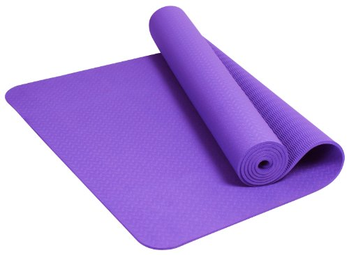 BalanceFrom GoYoga Premium 1/4-Inch Slip Resistant and Waterproof Yoga Mat with Carrying Strap (Violet)