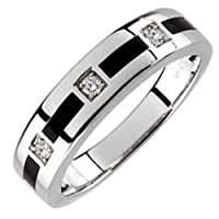 14kt White Gold Arty Onyx and Diamond Men's Wedding Band.