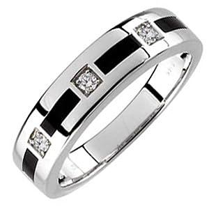Diamond Men's Wedding Band - 14kt White Gold Arty Onyx