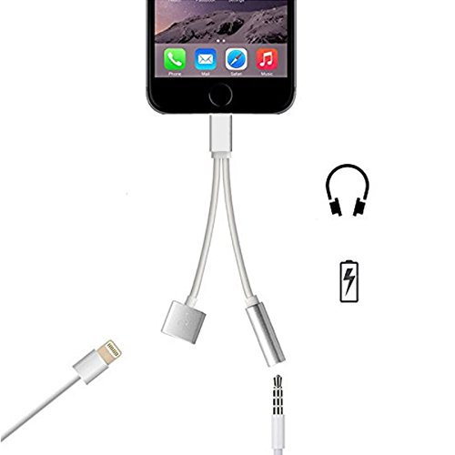 2 in 1 Lightning Adapter for iPhone 7, SelectWiser Charger and 3.5mm Earphone Jack Cable Adapter (No Music Control) for the iPhone 7 7 Plus 6S 6 iPod iPad