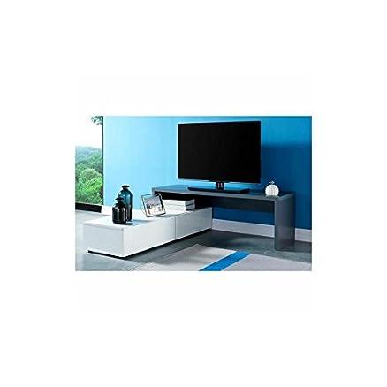 Mobile di TV Jupiter laccato grigio e bianco