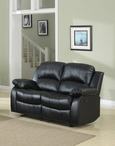 Homelegance Double Reclining Loveseat Black Bonded Leather Furniture Chairs Arm Chairs