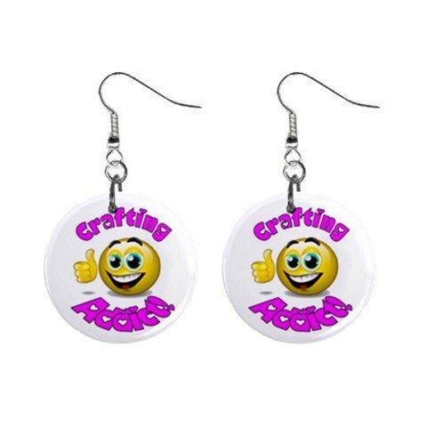 Crafting Addict Novelty Dangle Button Earrings