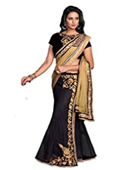 AG Lifestyle Black & Beige Georgette & Net Saree With Unstitched Blouse ASL706