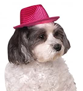 Rubies Costume Company Fedora Pet Costume Accessory, Small/Medium, Pink Sequin
