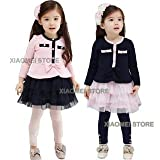 XIAOMEI Girls Young Lady Elegant Dress For Gift or Casual, Evening, Formal etc. NAVY+PINK (140cm, 8-9years)