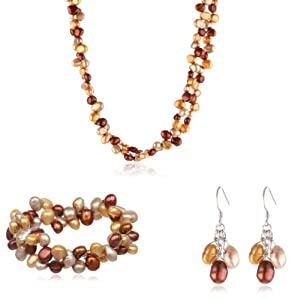 Multi-Color Dyed Freshwater Cultured Pearl Necklace, Bracelet and Earring Set with Sterling Silver Clasp