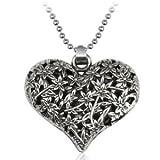 Lifeinhand Girls Ladies Silver Tone Hollow Filigree Heart Pendant Necklace