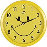 RUIFA Indoor Silent 8-Inch Precedent Decorative Wall Clock with Arabic Numerals (Yellow)