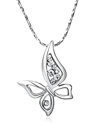Silver Shoppee Ebullient Wings, Genuine Austrian Crystal Studded, Sterling Silver Pendant With Chain