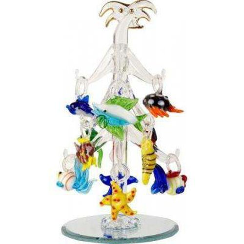 Crystal glass palm christmas tree with removable sealife
