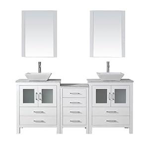 Virtu Usa Kd 70066 Wm Wh Modern 66 Inch Double Sink Bathroom Vanity Set With Polished Chrome