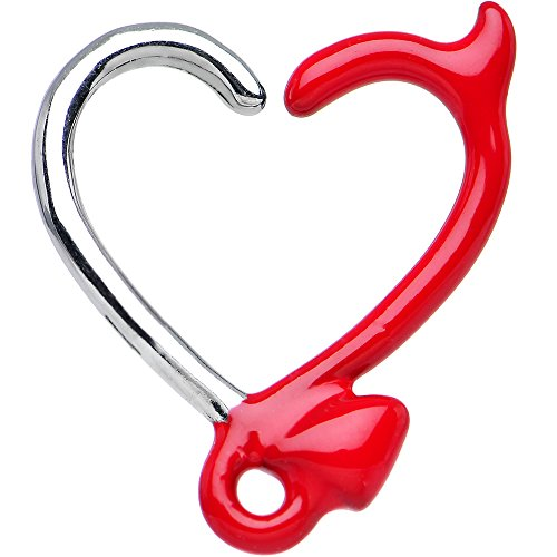 Red Devil Heart Closure Daith Cartilage Tragus Earring 16 Gauge 3/8
