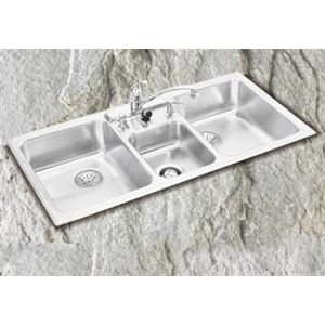 Elkay LCRQ43224 Lustertone Bowl Triple Basin Kitchen Sink