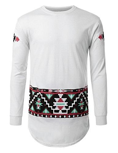 URBANCREWS Mens Hipster Hip Hop Aztec Tribal Long Sleeve Shirt WHITE LARGE