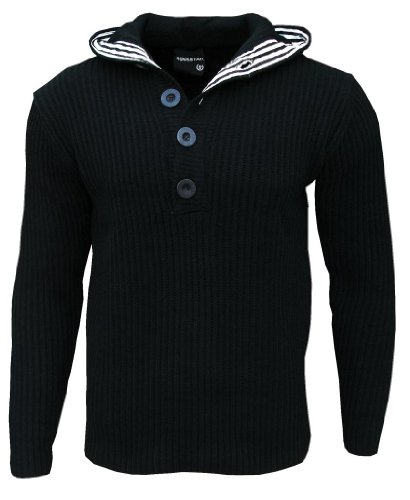 Soul Star Men's Flock Hooded Hoodie Hoody Knitted Jumper black Small