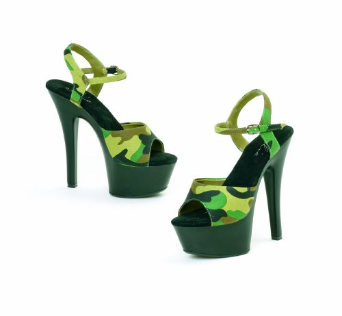 ES601-JULIET-M 6 inch Heel Sandal Women's Size Shoe With Camouflage Fabric (Green-5)