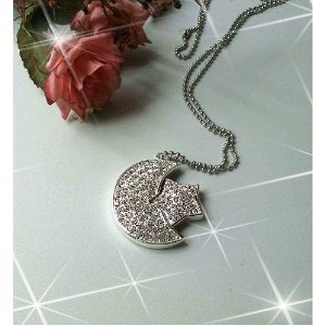 High Quality 8 GB Moon & Star Crystal Jewelry USB Flash Memory Drive Necklace (SILVER) by T &  J