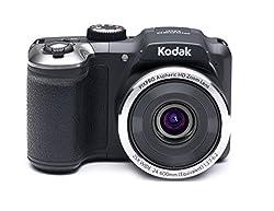 Kodak PixPro AZ251 Point and Shoot Camera (Black) with 25x Optical Zoom, 4GB Card and Camera Case