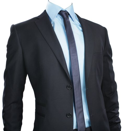 Mens Slim Fit Suit Navy Blue 2 Button Stitch Trim Office Party or Wedding Suit UK Stock