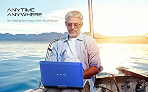 """COOAU 17.9"""" Portable DVD Player with 15.6 Large Swivel Screen, 6 Hrs Long Lasting Built-in Battery, Region Free, Stereo Sound, with Remote Controller,SD+USB+AVin+AVout+Earphone Port. Blue (Color: Blue, Tamaño: 15.6 inch)"""