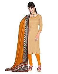 Lookslady Printed Beige Silk Dress Material