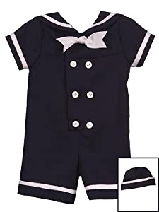 Infant Boys Sailor Suit With Hat - Navy 12 months
