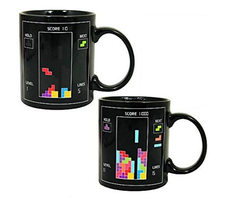D-Sun Amazing Magic Mugs Color Changing Mugs Heat Sensitive Porcelain Tea Coffee Cup (Tetris)
