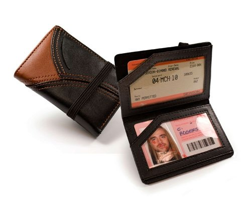 Classic leather 'bi-fold' Commuter Passport 2-panel train ticket / bus pass wallet holder case - brown