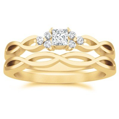 0.58 Carat Engagement Ring Sets Princess Cut Diamond on 14K Yellow gold