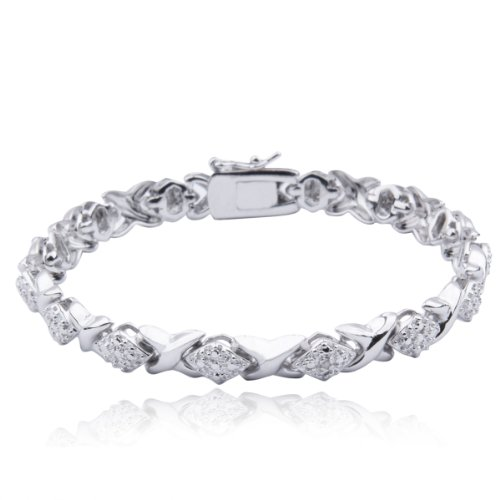 "Platinum Plated .925 Sterling Silver Xo Link Bracelet, 7.25"""