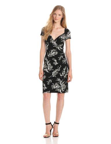 KAMALIKULTURE Women's Short Sleeve Sweetheart Side Draped Dress, Black Vintage Rose, Large