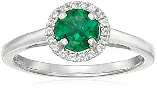 Sterling Silver Round Created Emerald and Round Created White Sapphire Halo Ring, Size 9