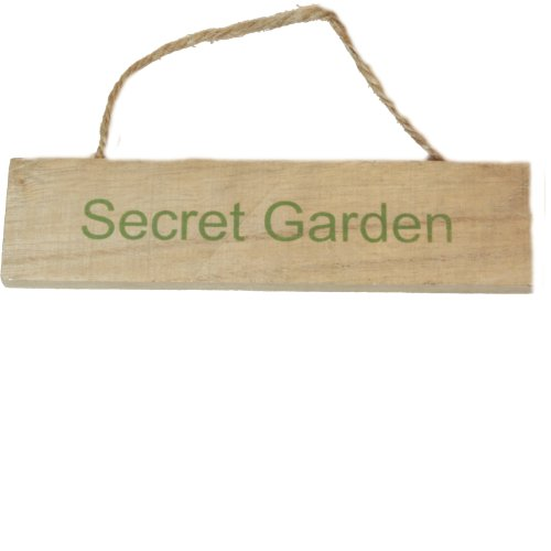 West5Products Secret Garden Shabby Vintage Chic Wooden Garden Sign Plaque w/ Hanging Twine