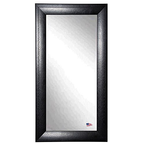 American Made Rayne Stitched Black Leather 30.75 X 65.75 Floor Mirror front-585431